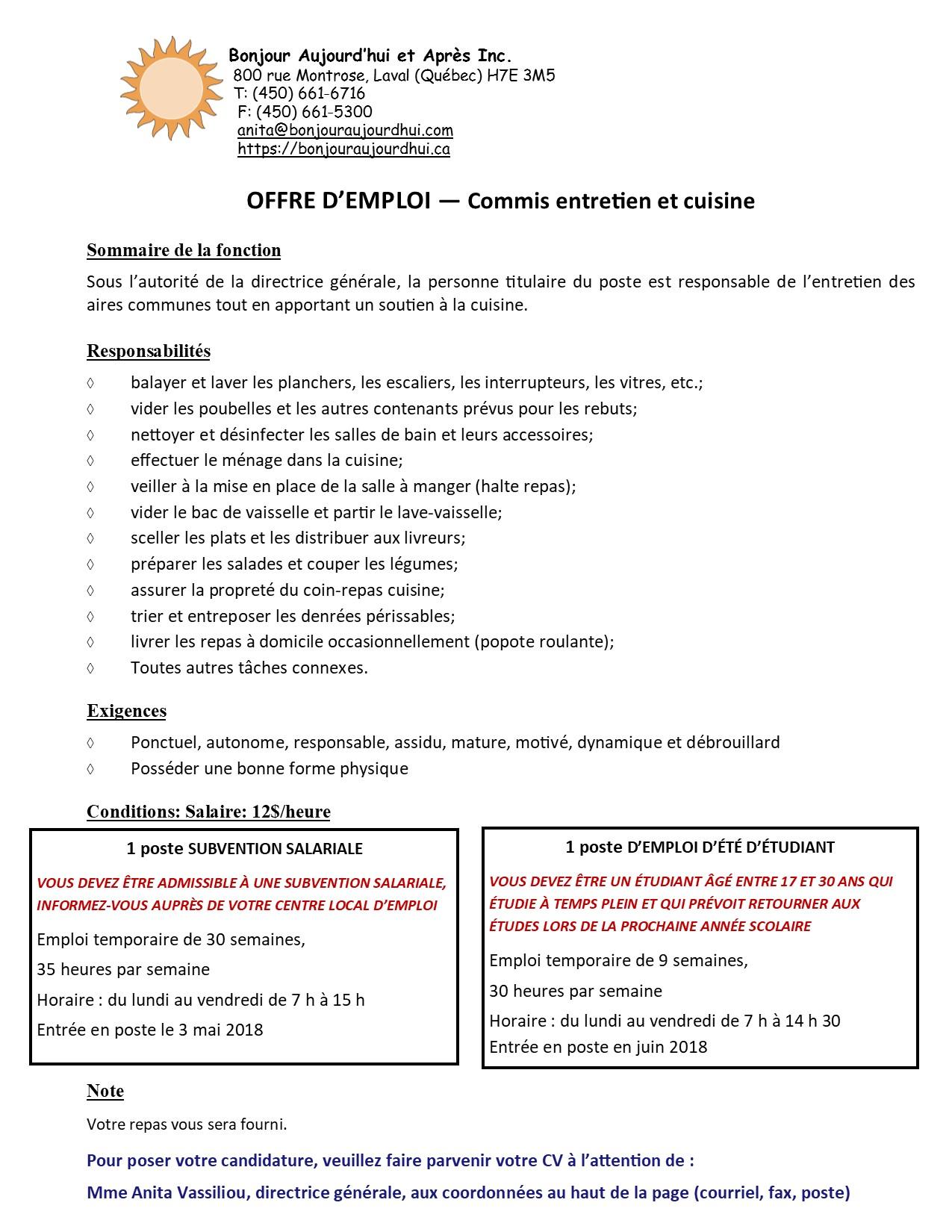 1 offre d 39 emploi 2018 combin e c subv sal commis entretien et cuisine bonjour aujourd 39 hui et - Offre emploi commis de cuisine ...